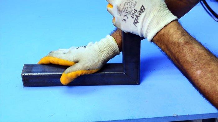 Как сделать соединение бесшовных профилированных труб под прямым углом с помощью укосины