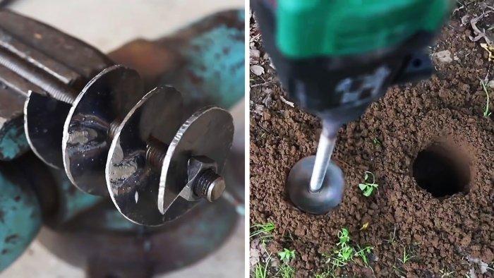 Садовый шнековый бур из хлама своими руками