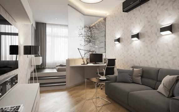 Разделение однокомнатной квартиры на спальню и гостиную